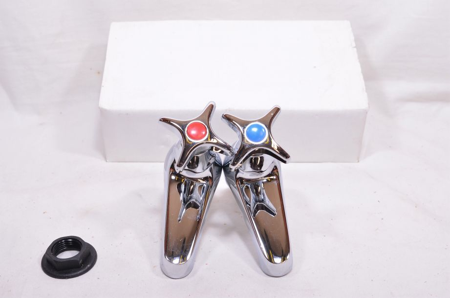 Pair of Chrome Plated Cross Top Basin Taps - Hot and Cold - Marflow Consort 3
