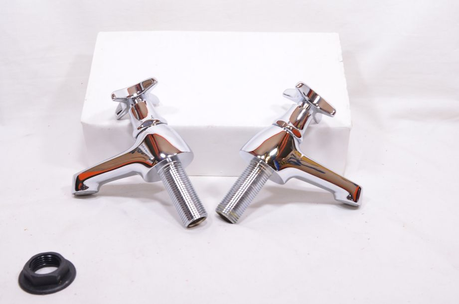 Pair of Chrome Plated Cross Top Basin Taps - Hot and Cold - Marflow Consort 4