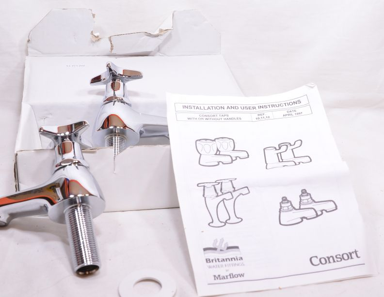 Pair of Chrome Plated Cross Top Basin Taps - Hot and Cold - Marflow Consort 5