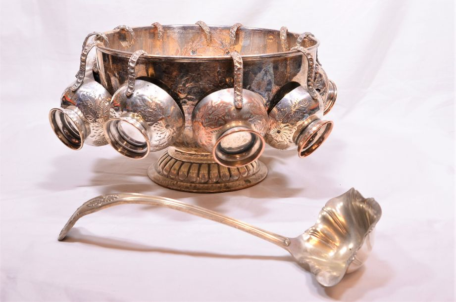 Vintage Silver Plated Punch Bowl Set with 11 Cups & Ladle