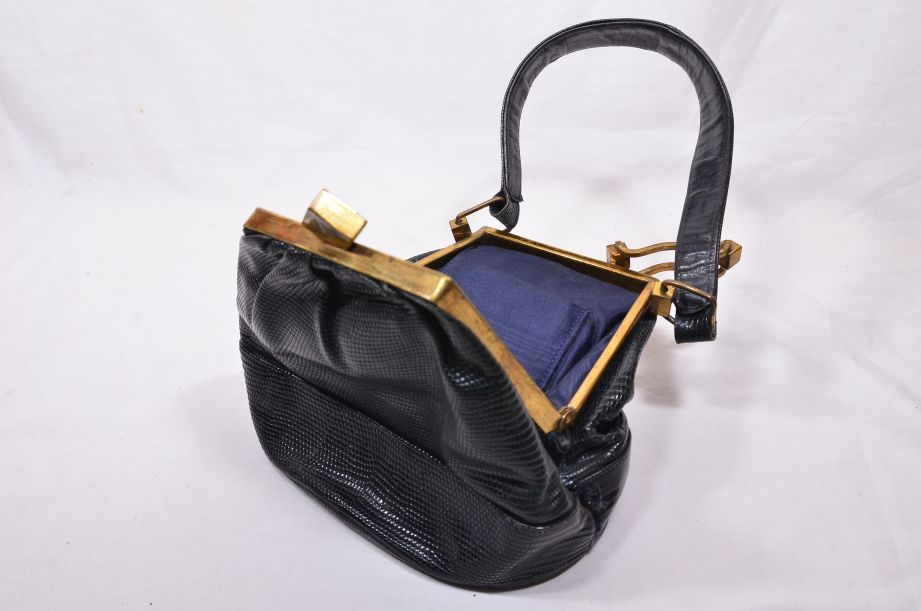 Vintage Black Stingray-Skin [Shagreen] Handbag