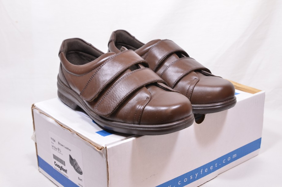 Cosyfeet Bart Brown Leather Hook & Loop Shoes Extra Roomy UK 9.5