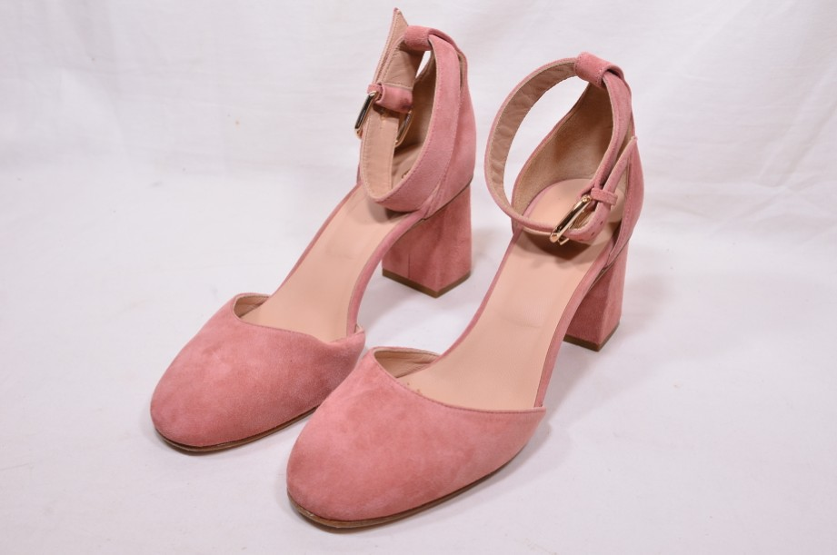 Red Valentino Ladies Pink Suede Block-heel Pumps with Ankle Strap Size 39 (UK 6)