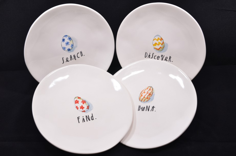 Rae Dunn Easter Serving Plates Set of 4 - Find, Hunt, Search, Discover