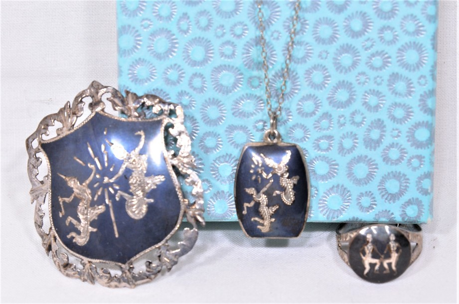 Thai Jewellery Set - Ring, Necklace & Brooch 2