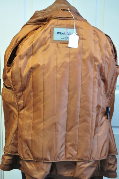 Ladies Whet blu Brown Leather Jacket good condition with wrap round tie up belt. 10