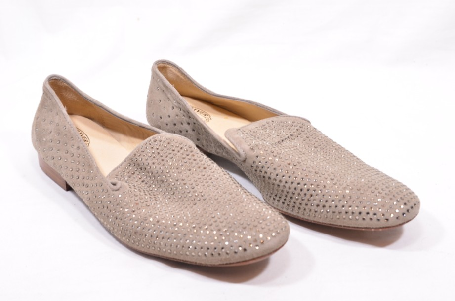 Women's  Vero Cuoio Suede Leather Taupe Studded Loafers size 40/UK 7