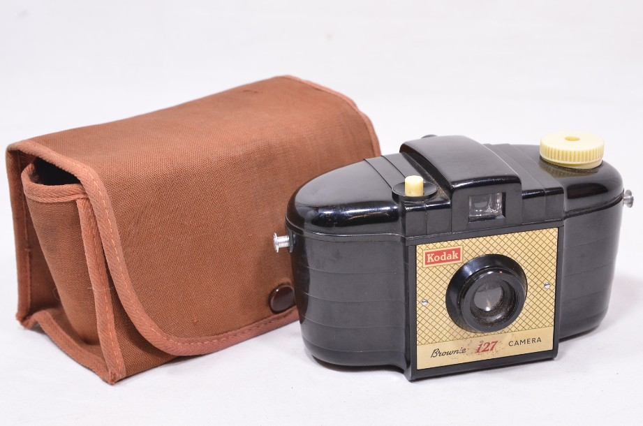 Kodak Brownie 127 camera and case - Model 1