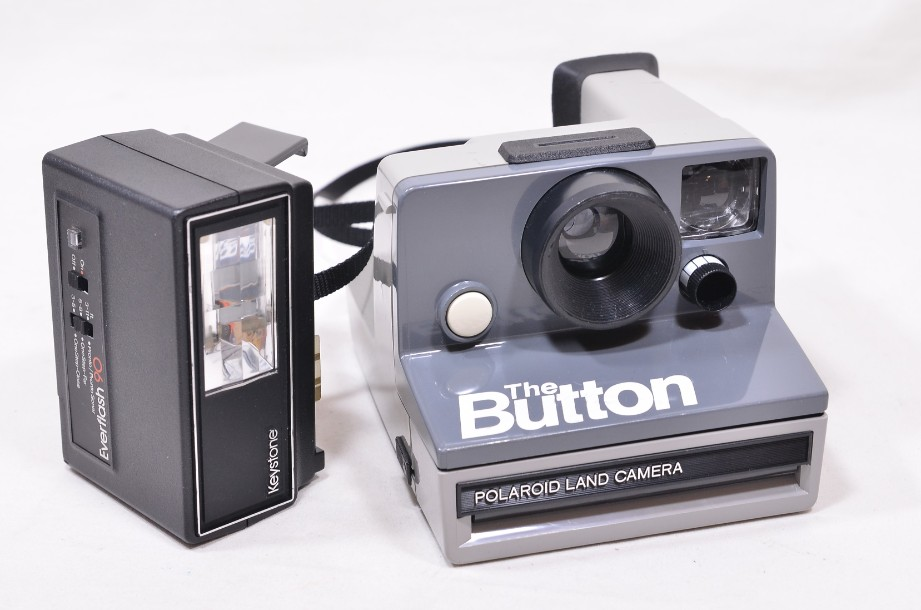 Polaroid The Button Land Camera Instant SX-70 Film Camera with Everflash 90