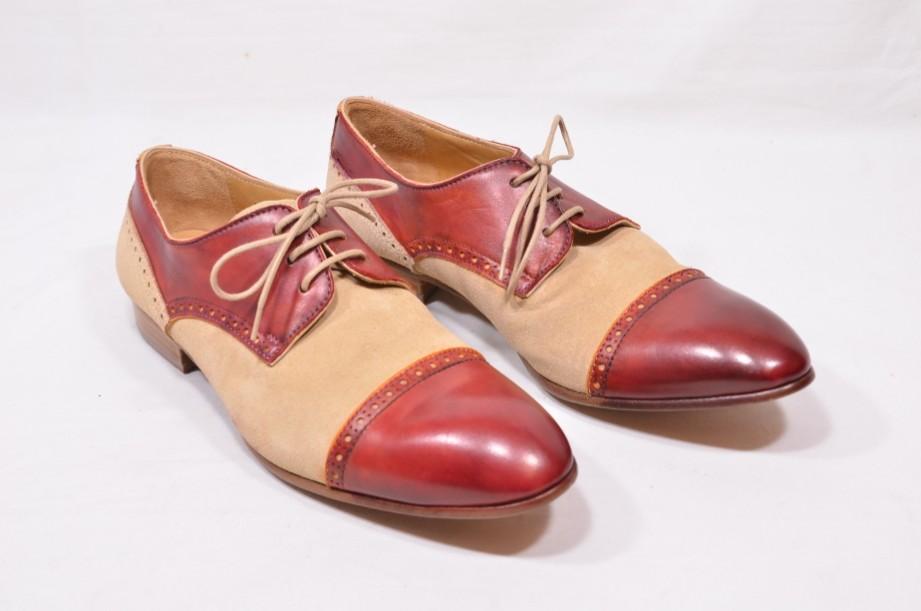 Carlos Santos - Handmade Brogue Style Shoes - Burgundy/Tan Size 6.5 [40]