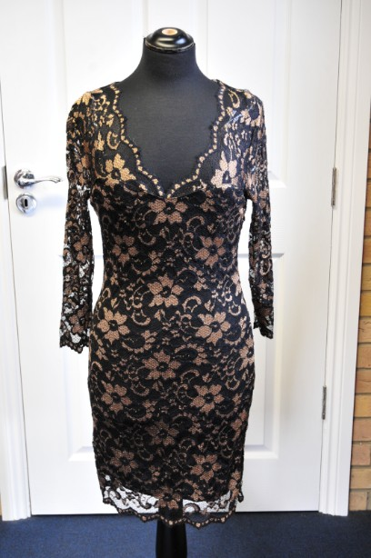 LIPSY  Black/Gold Floral Lace Dress Size 8 BNWT