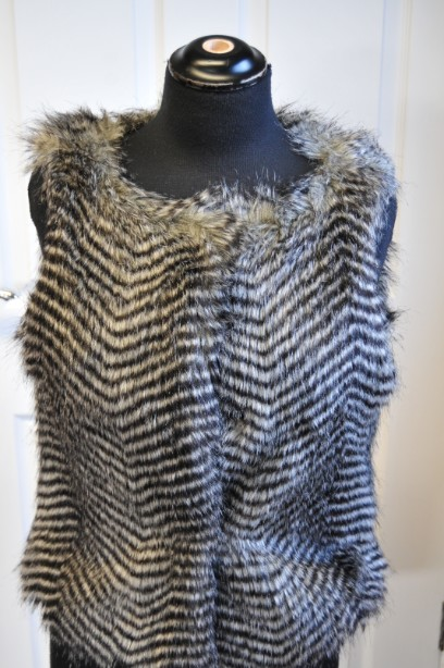 Women's Warehouse Faux Fur Gilet in Grey and Black size M 2