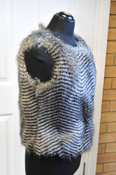 Women's Warehouse Faux Fur Gilet in Grey and Black size M 3
