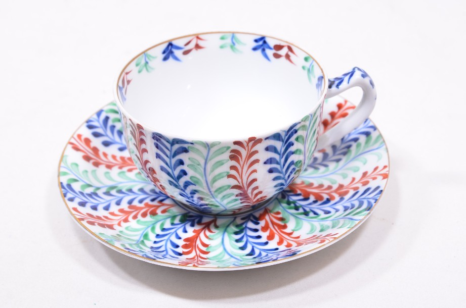 Oriental Hand Painted Porcelain Cup and Saucer