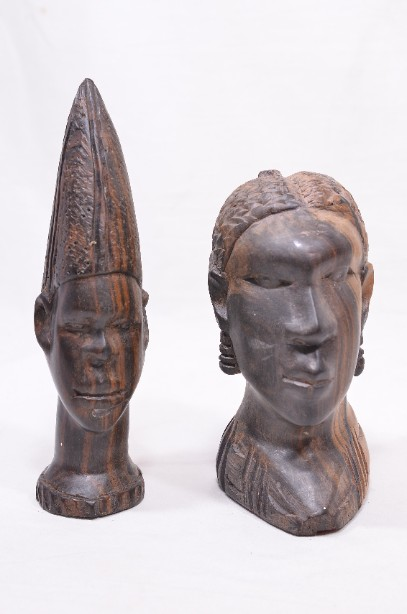 Male and Female African Wooden Hand-Carved Heads 1