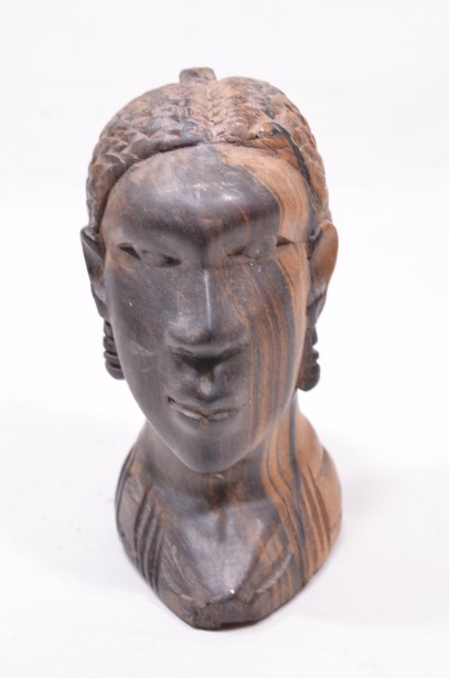 Male and Female African Wooden Hand-Carved Heads 3