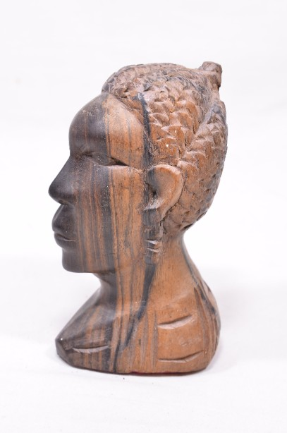 Male and Female African Wooden Hand-Carved Heads 5