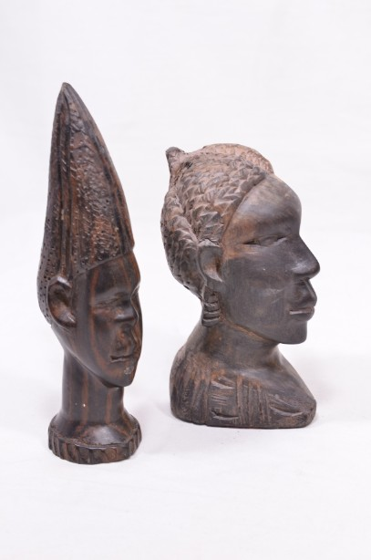 Male and Female African Wooden Hand-Carved Heads 8