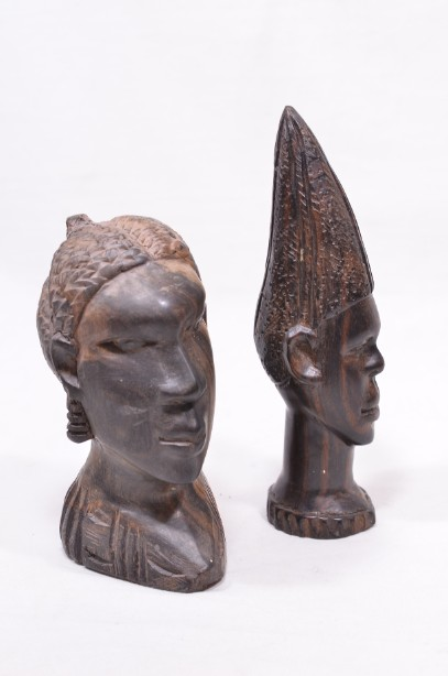 Male and Female African Wooden Hand-Carved Heads 9