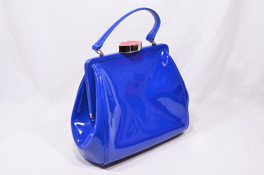 Rare Lulu Guinness Cobalt Blue Red Lips Patent Bag With Shoulder Strap 1
