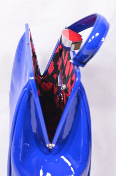 Rare Lulu Guinness Cobalt Blue Red Lips Patent Bag With Shoulder Strap 12