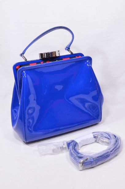 Rare Lulu Guinness Cobalt Blue Red Lips Patent Bag With Shoulder Strap 14