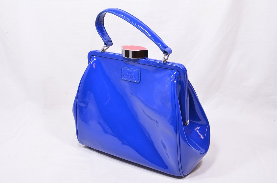 Rare Lulu Guinness Cobalt Blue Red Lips Patent Bag With Shoulder Strap 2