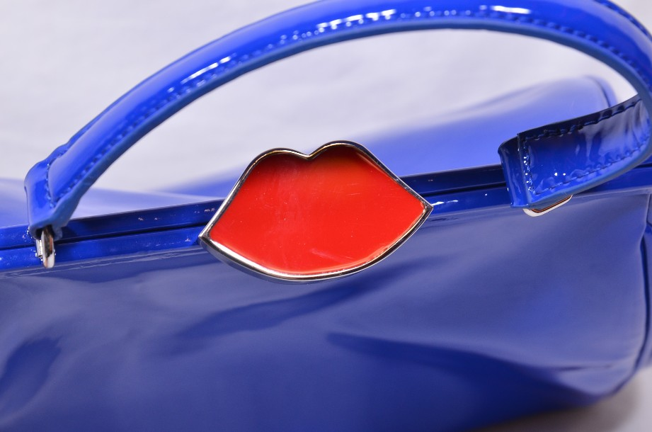 Rare Lulu Guinness Cobalt Blue Red Lips Patent Bag With Shoulder Strap 4