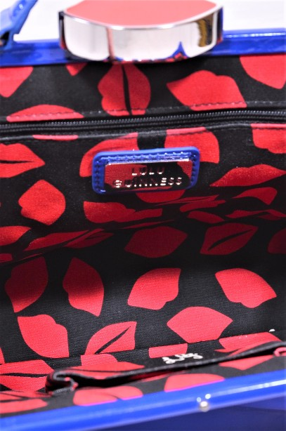 Rare Lulu Guinness Cobalt Blue Red Lips Patent Bag With Shoulder Strap 6