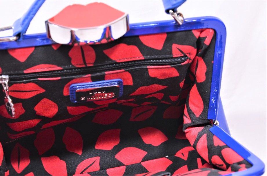 Rare Lulu Guinness Cobalt Blue Red Lips Patent Bag With Shoulder Strap 7
