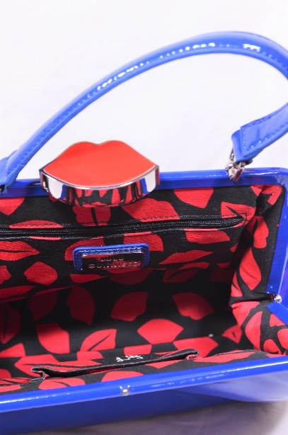 Rare Lulu Guinness Cobalt Blue Red Lips Patent Bag With Shoulder Strap 8