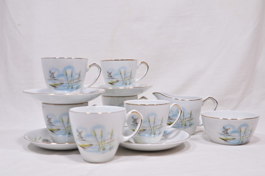 Vintage Alfred Meakin Glo-White Ironstone Coffee Set of 13 Pieces 3
