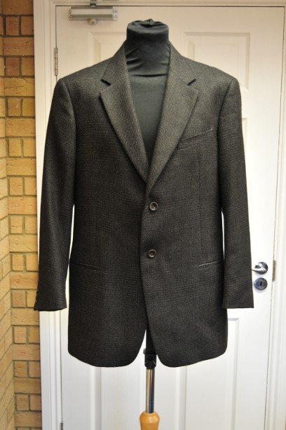 Men Armani Collezioni Black and Grey Wool Blazer  size 56 Regular