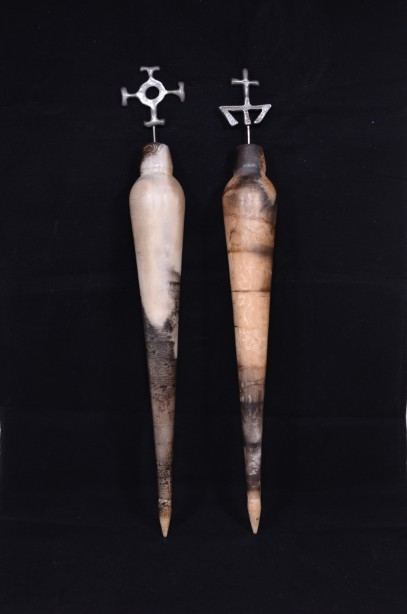 Pair of Hand Crafted Raku Pottery Oil Bottles 1