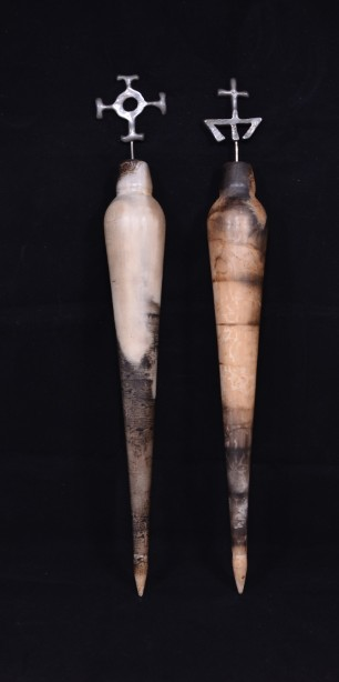 Pair of Hand Crafted Raku Pottery Oil Bottles 2