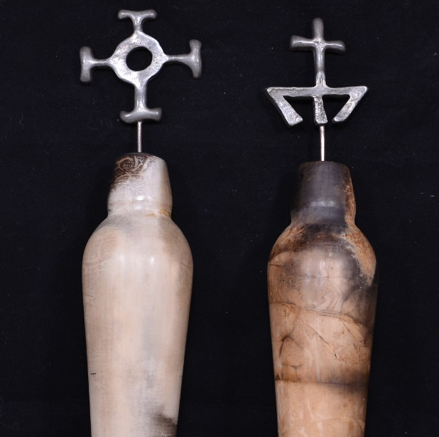 Pair of Hand Crafted Raku Pottery Oil Bottles 3