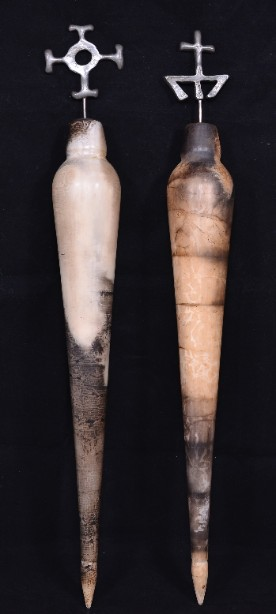 Pair of Hand Crafted Raku Pottery Oil Bottles 5