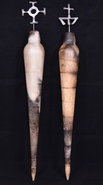 Pair of Hand Crafted Raku Pottery Oil Bottles 6