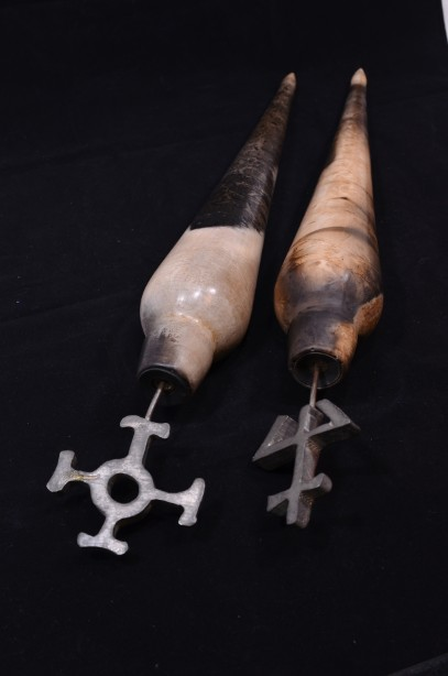 Pair of Hand Crafted Raku Pottery Oil Bottles 8