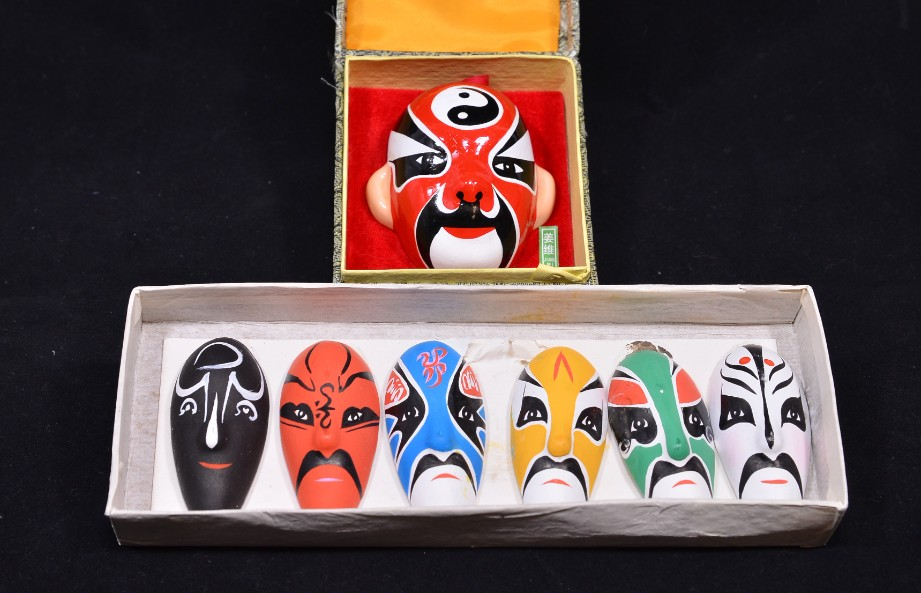 Vintage Chinese Hand Painted Pottery Opera Masks Set of 7 - Boxed 1