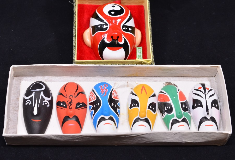 Vintage Chinese Hand Painted Pottery Opera Masks Set of 7 - Boxed 2