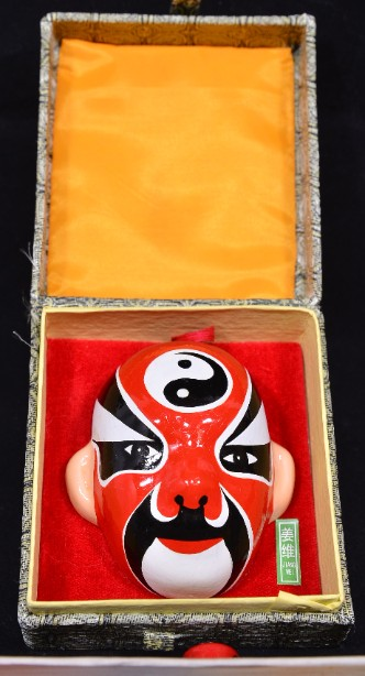 Vintage Chinese Hand Painted Pottery Opera Masks Set of 7 - Boxed 3