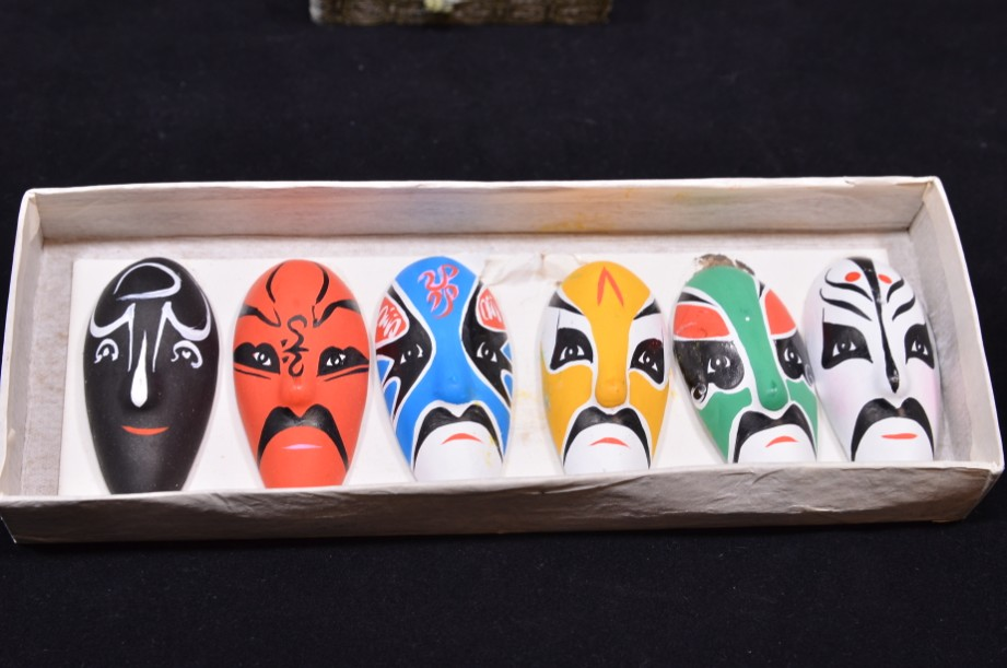 Vintage Chinese Hand Painted Pottery Opera Masks Set of 7 - Boxed 5