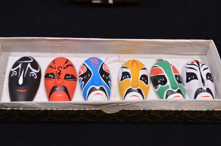 Vintage Chinese Hand Painted Pottery Opera Masks Set of 7 - Boxed 7