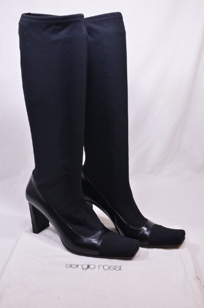 Women's Sergio Rossi Black Long Stretch Boots size 38 1/2