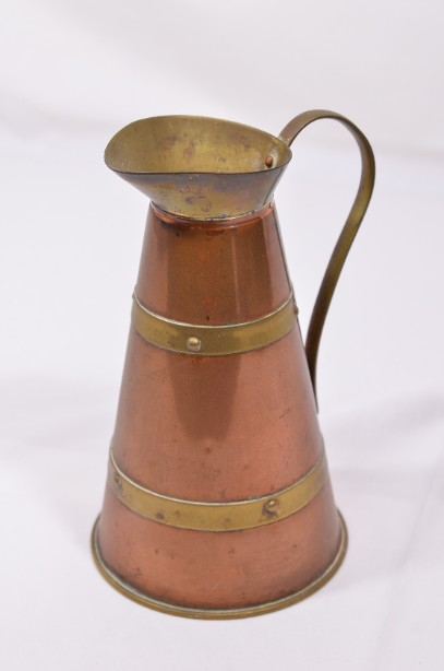 Small Vintage Copper Jug with decorative banding