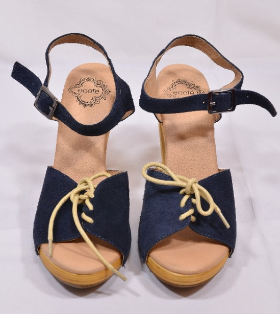 Brand New Ecote for Urban Outfitters Blue Suede Heeled Sandals Size 5 1