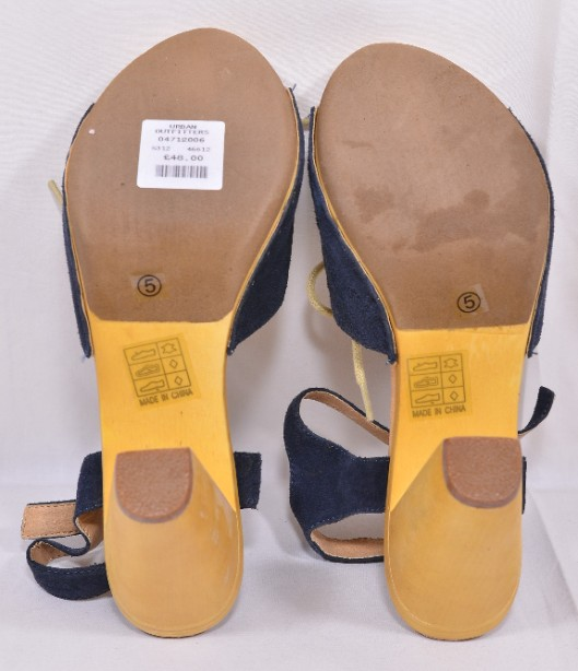 Brand New Ecote for Urban Outfitters Blue Suede Heeled Sandals Size 5 6