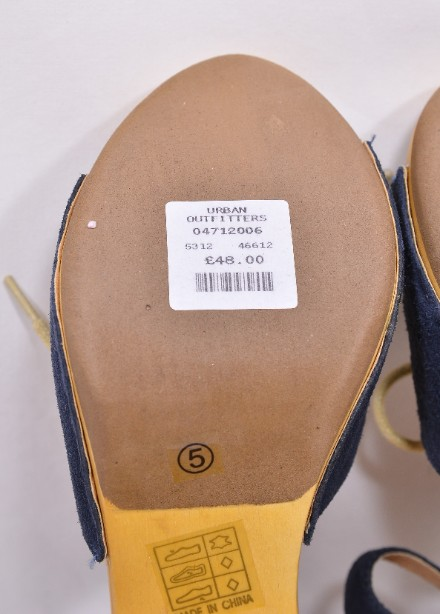 Brand New Ecote for Urban Outfitters Blue Suede Heeled Sandals Size 5 7