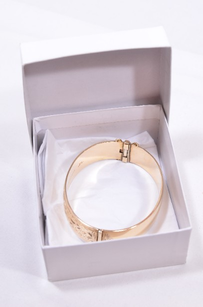Etched Gold Bangle with safety chain Boxed